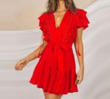 NHS Ruffle Red Dress_