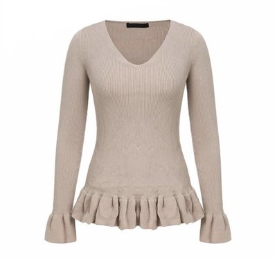 NHS Ruffle Top Beige
