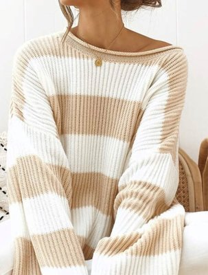 NHS Striped Sweater Beige