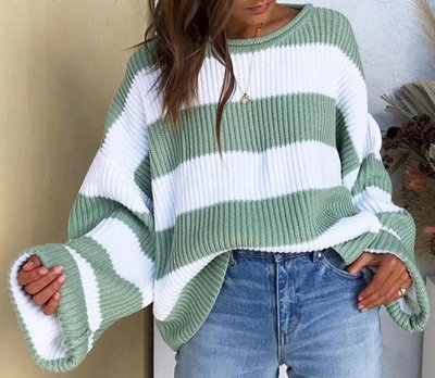 NHS Striped Sweater Green
