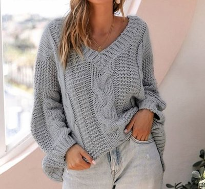 NHS Cable Sweater Grey
