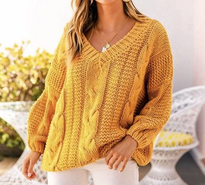 NHS Cable Sweater Yellow