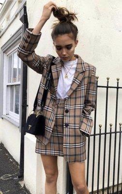 NHS Square Blazer Skirt Set Beige