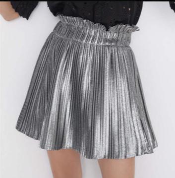 NHS Plissé Skirt Silver