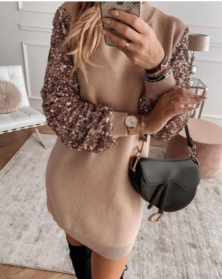 NHS Glitter Sleeve Sweaterdress Pink