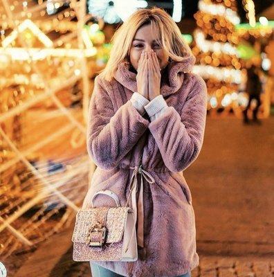 NHS Faux Fur Coat Pink
