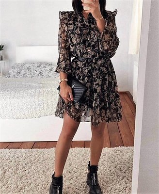 Flower Ruffle Dress Black