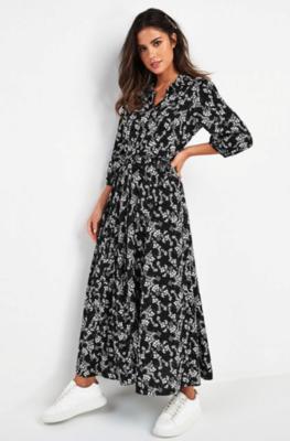 Flower Maxi Dress Black