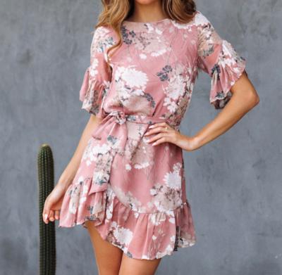 Flower Ruffle Dress Pink
