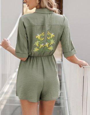 Emborderd Flower Jumpsuit Green