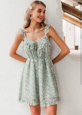 Flower Ruffle Dress Green
