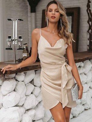 Satin Bow Dress Champagne
