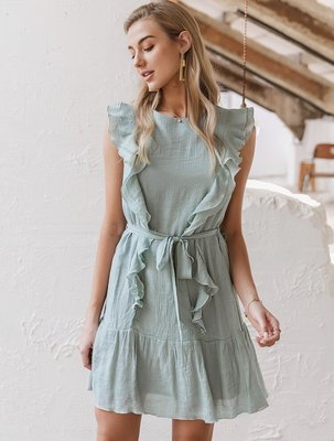 Ruffle Dress Green