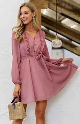 Mila Ruffle Dress Pink