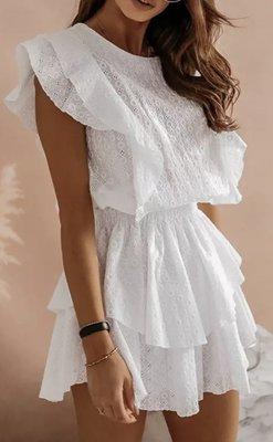 Broderie Ruffle Dress White