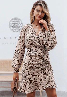 Cheetah Dots Dress Beige