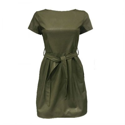 Leather Look Dress Army