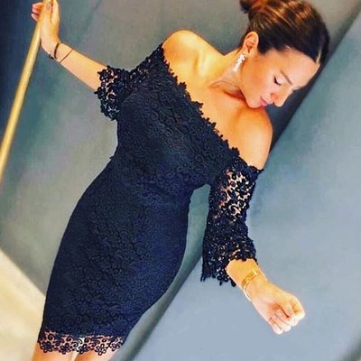 Lace Off-shoulder Dress Black