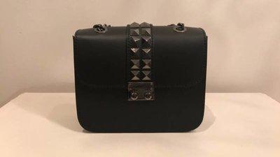 V Inspired Stud Bag Black