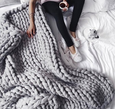 Chunky Knit Blanket Grey