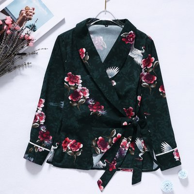 Flower Wrap Blouse Green