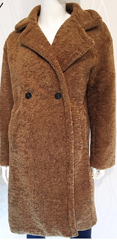 Teddy Long Coat Camel