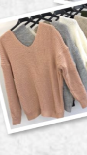 Open Back Sweater Pink