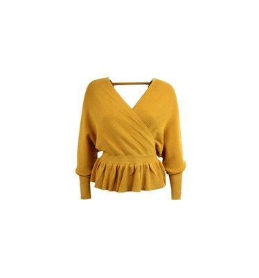 Zeyna Wrap Sweater Okergeel