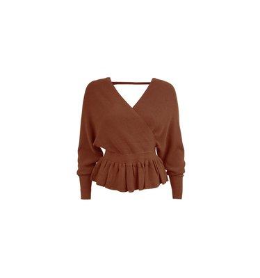Zeyna Wrap Sweater Brown