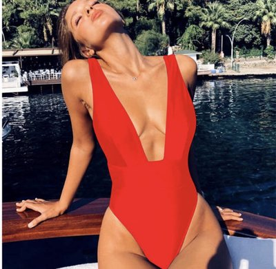 Coco V-Swimsuit Red