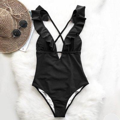 Ruffle Bathing Suit Black