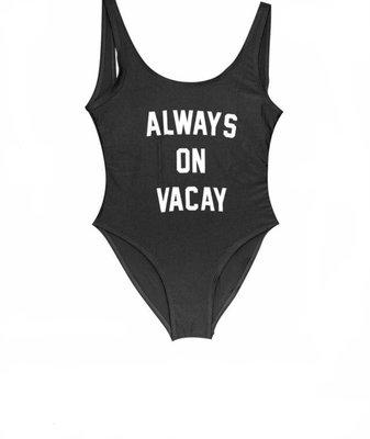 Always On Vacay Bathing Suit - Black
