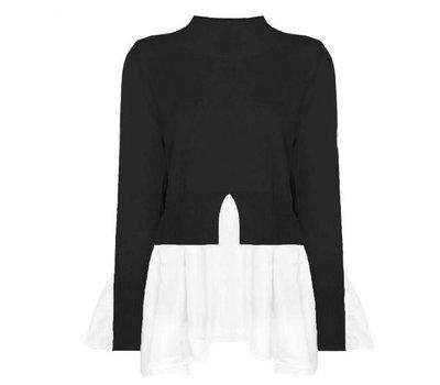 Ruffle Blouse Sweater Black