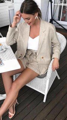 Two Piece Striped Suit - Beige