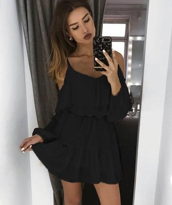 NHS  Open Shoulder Dress - Black