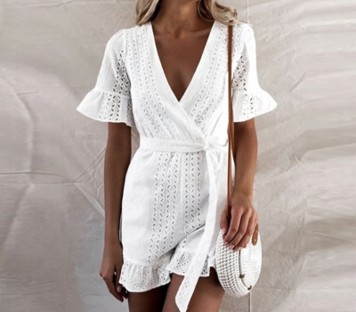 NHS Love Lace Jumpsuit White