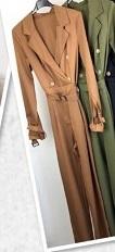 Lori Button Jumpsuit Long Cognac