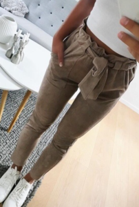 NHS Suede Pants Taupe