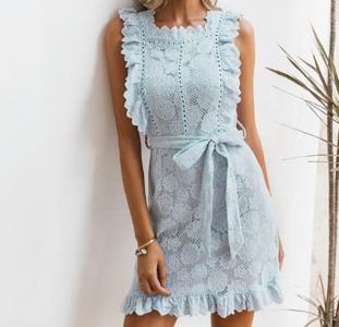 NHS Lace Ruffle Dress Blue