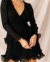 NHS Sleeve Ruffle Dress Black