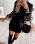 NHS Glitter Sleeve Sweaterdress Black