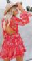 Flower Open Back Dress Red