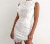 Lace Open Back Dress White